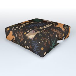 Autumn Woodsy Floral Forest Pattern With Foxes And Birds Outdoor Floor Cushion