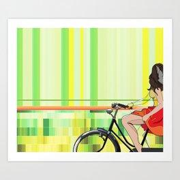 Sentiments d'été - le velo Art Print
