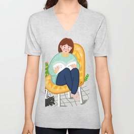 Reading Girl And Cat Unisex V-Neck