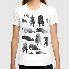 b&w fading figures T-shirt