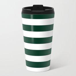 Narrow Horizontal Stripes - White and Deep Green Travel Mug