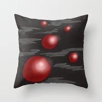 Shiny Red Planets Throw Pillow
