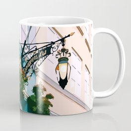 Digital Illustration of Plants and Light Mounted onto a Colourful Danish House in Nyhavn, Copenhagen Coffee Mug