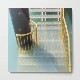 Submerged metal stairs Metal Print