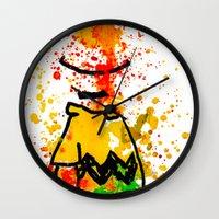 charlie brown Wall Clocks featuring Charlie Brown by benjamin james