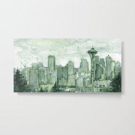 Seattle Skyline Watercolor Space Needle Emerald City 12th Man Art Metal Print