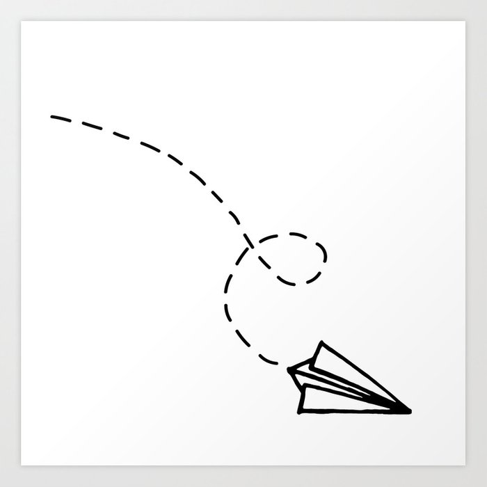 Send It Simple Paper Airplane Drawing Art Print By Stopthepresses