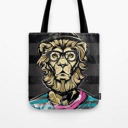 Hipster Lion on Black Tote Bag