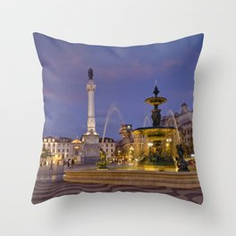Rossio square at dusk Throw Pillow