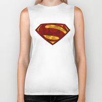 man of steel Biker Tanks featuring MAN OF STEEL by thebuffaloarmy
