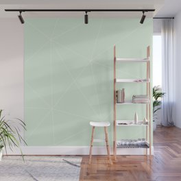 White on Mint Wall Mural