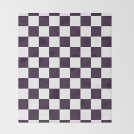 Checkered - White and Dark Purple Throw Blanket