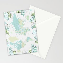 Mint and green floral world map with cities Stationery Cards
