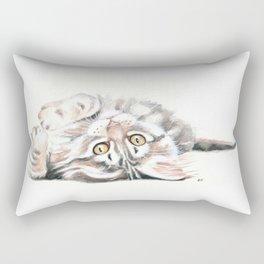 Cute Maine Coon Kitten Playing Rectangular Pillow