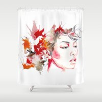 oriental Shower Curtains featuring oriental by Lua Fraga