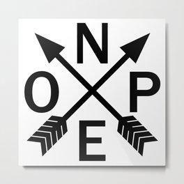 Compass Nope Metal Print