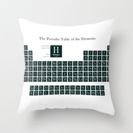 Periodic Table of Elements - Forest Green Throw Pillow