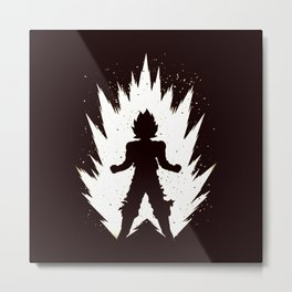 Super Saiyan Vegeta Black White Metal Print