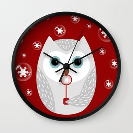Christmas owl on red Wall Clock
