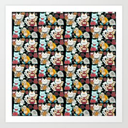 Super Lucky Pattern in Black Art Print