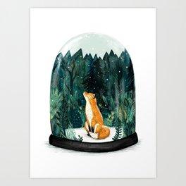 Snow Globe Fox Art Print