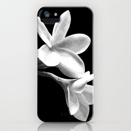 White Flowers Black Background iPhone Case
