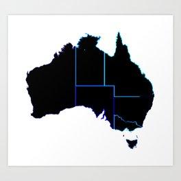 Australia States In Silhouette Art Print