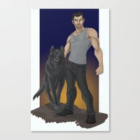 derek hale Canvas Prints featuring Derek Hale - Beta Blue by mianewarcher
