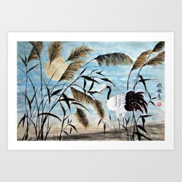 Evening Crane Art Print