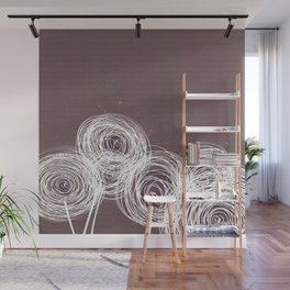 Doodle Flowers in Purple by Friztin Wall Mural