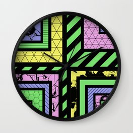 Pastel Corners (Abstract, geometric, textured designs) Wall Clock