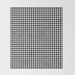 Classic Black & White Small Diamond Checker Board Pattern Throw Blanket