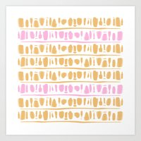rose gold Art Prints featuring Rose + Gold by Kat Rutt Design