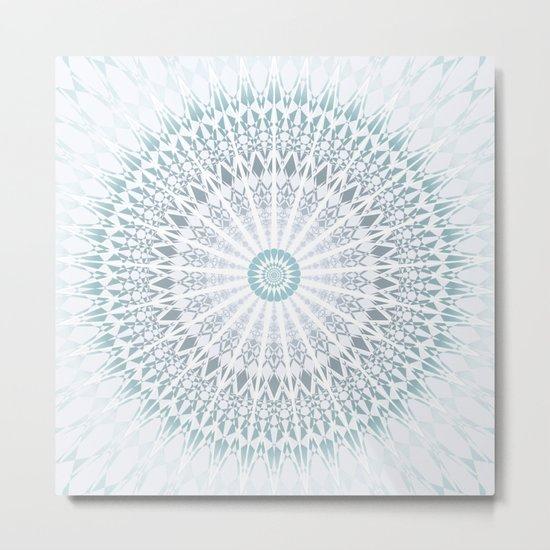 Teal Aqua Mandala Metal Print