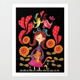 Girl with sunflowers_black Art Print