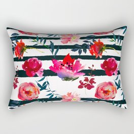 Black white pink floral watercolor stripes pattern Rectangular Pillow