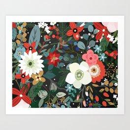 Retro Flowers Art Print