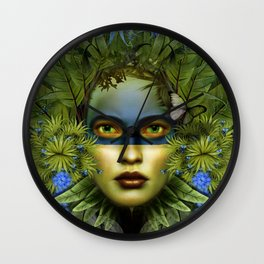 """Tropical green and indigo jungle Woman"" Wall Clock"