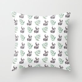 Skunk & Fern Throw Pillow