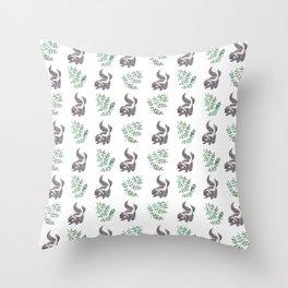 Skunk & Fern Throw Pillow