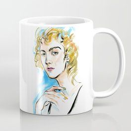 portrait of a woman with curly blond hair and green eyes Coffee Mug