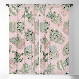 Blush pink mint green rose gold cactus floral Blackout Curtain