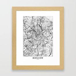 Moscow White Map Framed Art Print
