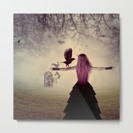 Dark foggy scene with witch woman with crows Metal Print