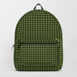 Green Plaid Black Background Backpack