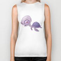 sea turtle Biker Tanks featuring Sea Turtle by John Schwegel