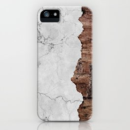 Grey Marble & Wood texture iPhone Case