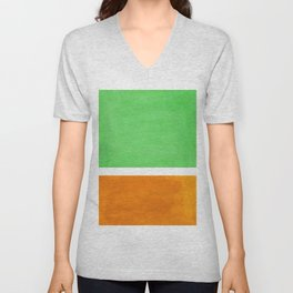Pastel Mint Green Yellow Ochre Rothko Minimalist Mid Century Abstract Color Field Squares Unisex V-Neck
