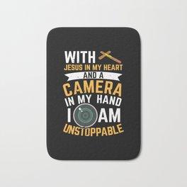 Camera Photographer Jesus Photography Gift Bath Mat