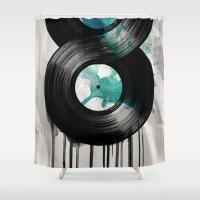 vinyl Shower Curtains featuring infinite vinyl by Vin Zzep